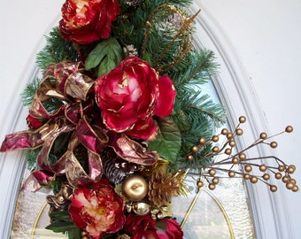 Christmas Swag, Holiday Swag, Winter Swag, Peony Swag, Wreath Alternative