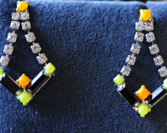 Pierced vintage rhinestone earrings.  Great for a touch of flair to enliven any outfit.