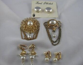 Vintage Faux Pearl Earrings and Brooch Lot for Wear or Detash