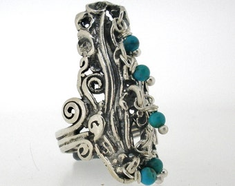 NEW Handcrafted 925 Sterling Silver Ring, Turquoise, Unique Design by PORAN. Artistic Jewelry Made in Israel.