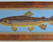 Loom Beaded Brown Trout Fish Art - ClaudesWoodcarving