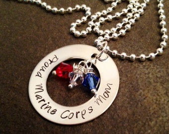 Personalized necklace Proud marine corps mom dad sister girlfriend wife necklace navy army coast guard military deployment