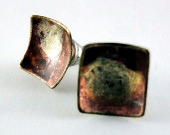 Square is Square Stud Earrings, Mixed metals,Unique, One of a Kind