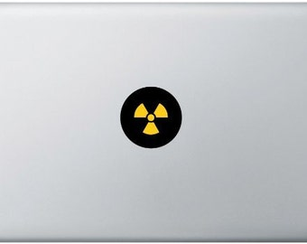 Radioactive MacBook Sticker, Laptop Sticker, MacBook Air, MacBook Pro, Vinyl Decal, Nuclear, waring signal for radiation, Chemistry