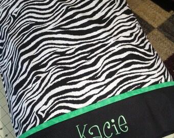 Personalized Zebra Print Pillowcase STANDARD SIZE