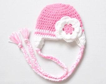 Earflap Baby Girl Hat, Crochet Girl Hat, Newborn Girl Hat, Pink Earflap Baby Hat, Baby Girl Hat, Earflap Newborn Hat, Earflap, Pink Hat