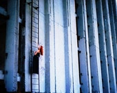 SALE! Color Print Photography,Surreal Photography,Wall Decor,Industrial Photography,Blue, Red, Orange, Black, Simple Lines, Stairway, Stairs