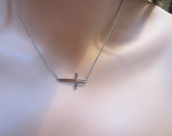 "Silver Sideways Horizontal Cross Necklace with 16"" chain and 2.5"" extension"