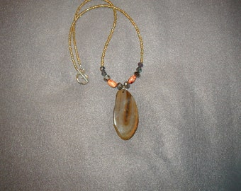 Genuine brown agate necklace