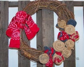 Burlap, Bandana and Denim Rosettes for Wreath