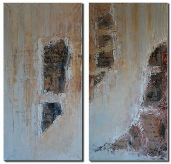 Original Modern Diptych Painting Knife Painting Oil on Canvas Mixed Media Paper Collage Tea Ink Painting