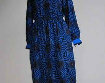 Vintage, Blue and Red Spiral Pattern Dress