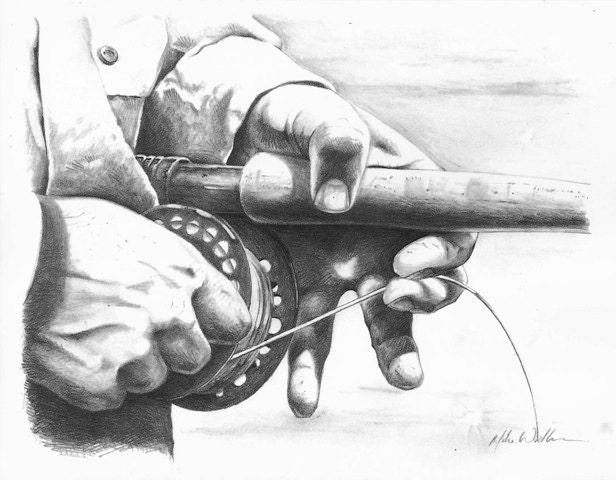 fishing rod sketch - photo #43