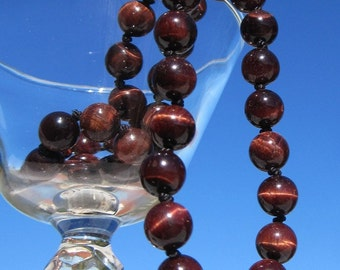 Red tigereye genuine gemstone necklace hand-knotted on silk