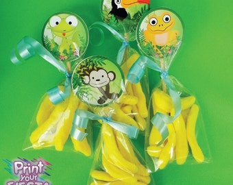 Print Your Fiesta digital party set - Jungle Party circle toppers, monkey, tucan, snake, frog, lizard
