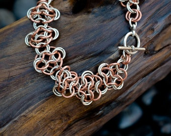 Chainmaille Rosette Bracelet in Sterling Silver and Copper