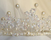 Crystal Flower Tiara- Delicate Beaded Flower Wedding Bridal Tiara, Ivory, Elegant, Modern, Spring Wedding
