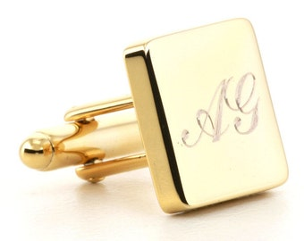 Gold Personalised Engraved Square Cufflinks