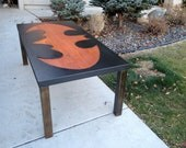 Metal and wood Coffee Table with the Batman Logo