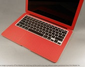 "Full Wrap For Apple Macbook Air 13"" 13.3"" A1466 A1369 For 2010-2014 Ferrari Red Carbon Fiber Protector Skin Decal Full Body Wrap 5 pieces"