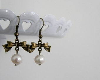 White Freshwater Pearl & Antique Bronze Bow Dangle Earrings, Pearl Earrings, Bridesmaid gifts, Wedding Jewelry