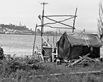 Squatters' homesite on the St. Lawrence River in Quebec- a black and white photograph