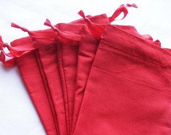 25 Red Cotton bags 4x6