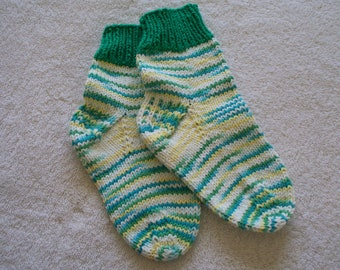 Multi-colored socks with green trim