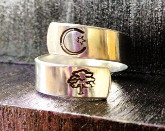 Spiral Ring, Personalized Ring, Engraved ring, Tree of Life, yoga ring, Ohm ring, music ring, peace ring, yin yang  SPRALS01
