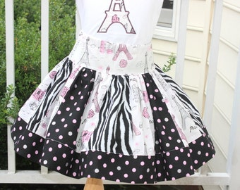 eiffel tower skirt zebra skirt toddler skirt paris skirt summer pink silver black girls skirt birthday twirly skirt