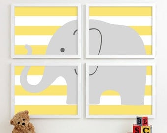 Modern Nursery Art, Chevron Elephant Nursery Print, Safari Animal Kids Wall Art for Children Room Playroom, Baby Nursery Decor