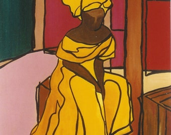 African American, African, Caribbean Art, limitied edition of offset litho,  WOMAN WITH BOXES by Ramona Candy