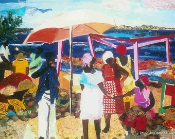 Caribbean, African American Art, a limited edition offset litho of original collage of market scene in St. Martin, MARIGOT by Ramona Candy