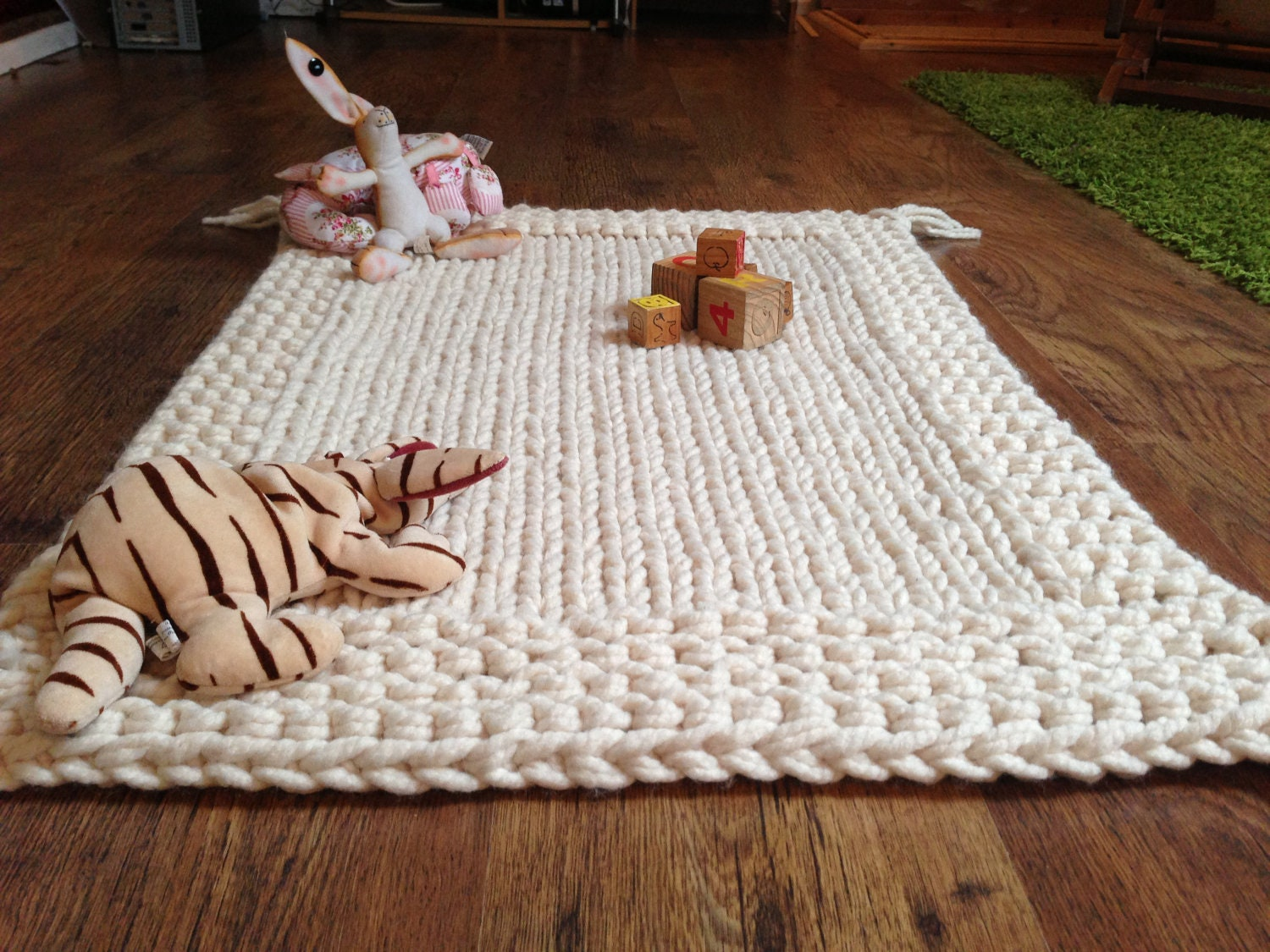 Knitting Pattern For Chunky Baby Blanket : Chunky Cream Hand Knitted Babies Blanket / Play Mat.