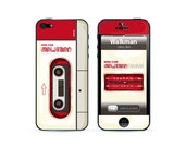 Apple iphone 5 skin cover, iphone 5 skin, iphone 5 sticker, iphone skin, retro walkman red color