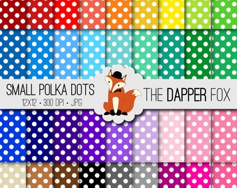 Rainbow Small Polka Dots Digital Paper Pack - INSTANT DOWNLOAD - 12x12 - 36 colours