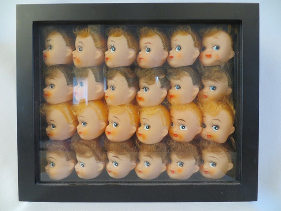 Vintage Plastic Doll Heads in Shadow Box Frame