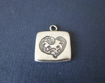 Sterling silver engraved tiny heart pendant. Engraved heart charm. Silver heart finding