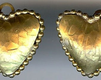 WOLOCH PARIS vintage textured gold tone HEART clip on earrings