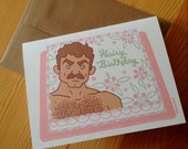Tom Selleck Cake Birthday Card