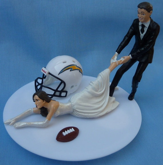 San Diego Chargers Fan: Wedding Cake Topper San Diego Chargers SD G Football Themed W/