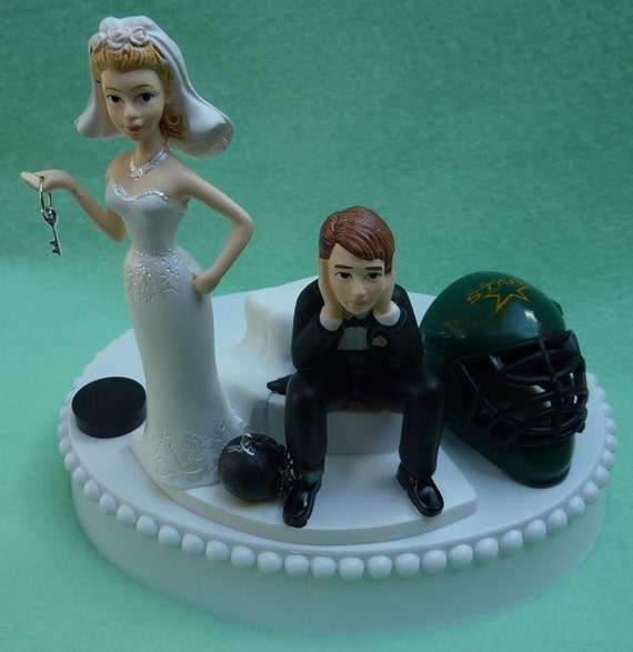 Wedding Cake Topper Dallas Stars Hockey Themed Ball and Chain Key w/ Bridal Garter Bride Dejected Groom Fans (We'll Use the Current Helmet)