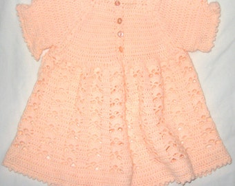 Peach Crocheted Toddlers Dress
