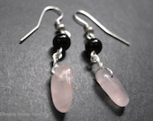 FINAL SALE!!! Tribal Rose Quartz Earrings with Jet