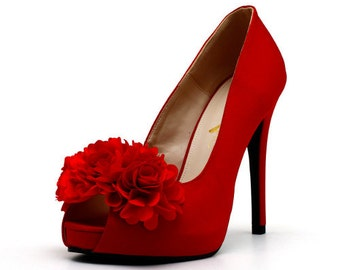 Red Satin Wedding Shoes with Fabric Flowers