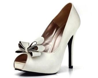 Ivory White Satin Wedding Shoe with Bow
