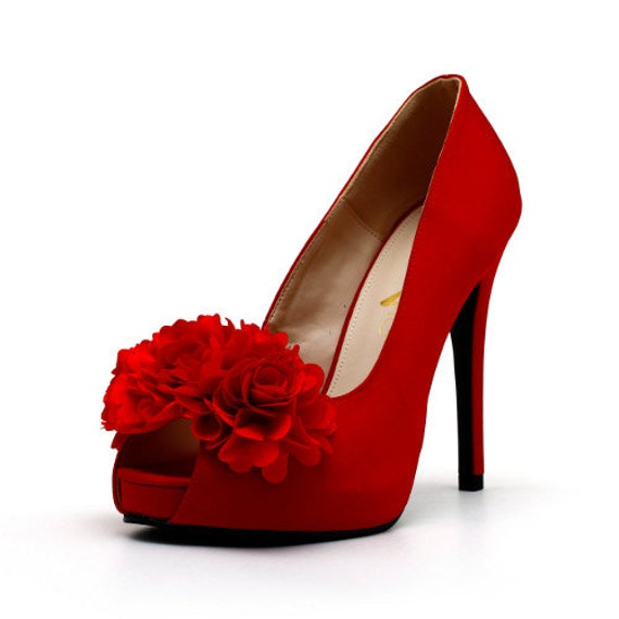 Items similar to Red Satin Wedding Shoes with Fabric Flowers on Etsy