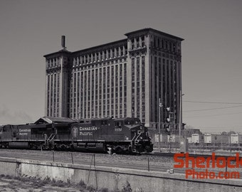 Michigan Central Station with Passing Train - Image 00660