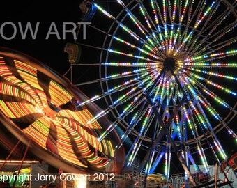 Ferris Wheel Lights up the Night Fine Art Print or Greeting Card