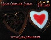 Heart Container glow in the dark Legend of Zelda inspired Locket video game cosplay jewelry